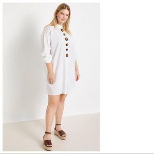 Eloquii Mock Neck Tortoise Button Detail Dress